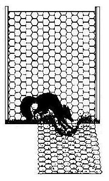 drawing of apron fence with small animal digging