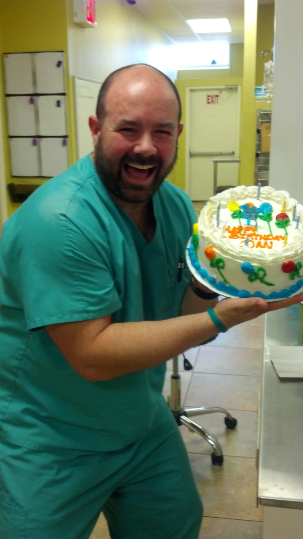 Dr. Danny with Birthday Cake