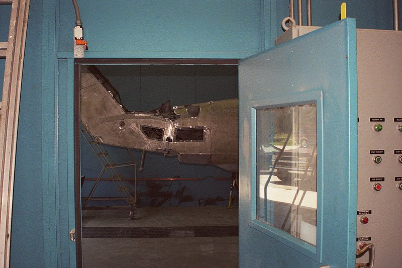 Stripped Helicopter in the Blast Booth Viewed from the Control Room