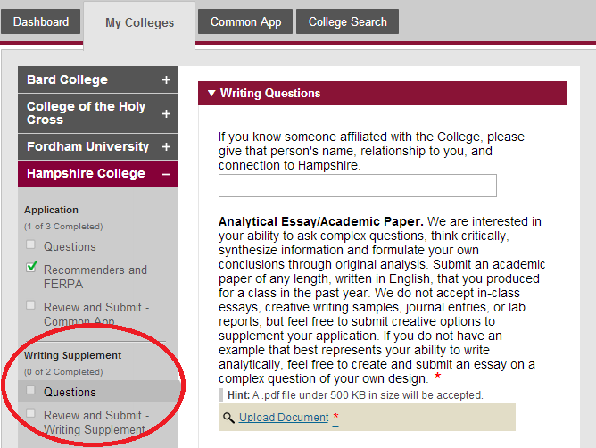Common application essay examples