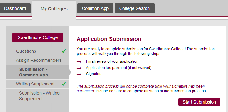 What colleges have no application fee or supplement essays for the Common App?