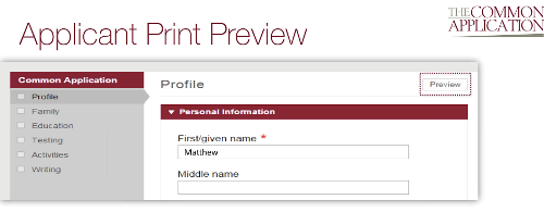 Common Application Print Preview