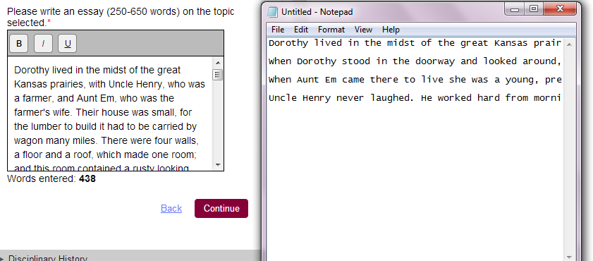 use notepad to copy and paste your common app essay