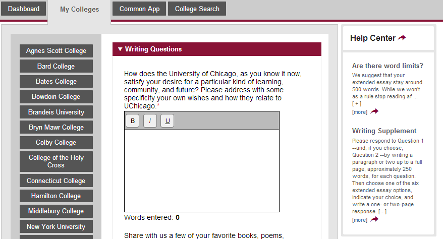 Heading for college essay common app