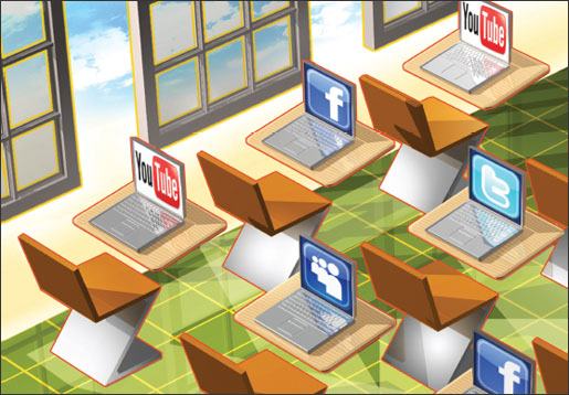 Classroom with laptops on each desk