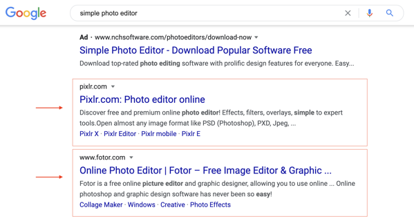 Pixlr and Fotor SEO Example
