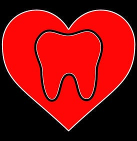 Heart with tooth graphic for blog - dental health and the heart