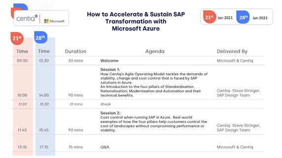 How to Accelerate and Sustain SAP Transformation with Microsoft Azure - event description in image format