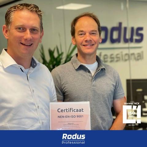 Rodus Professional ontvangt ISO9001-certificaat