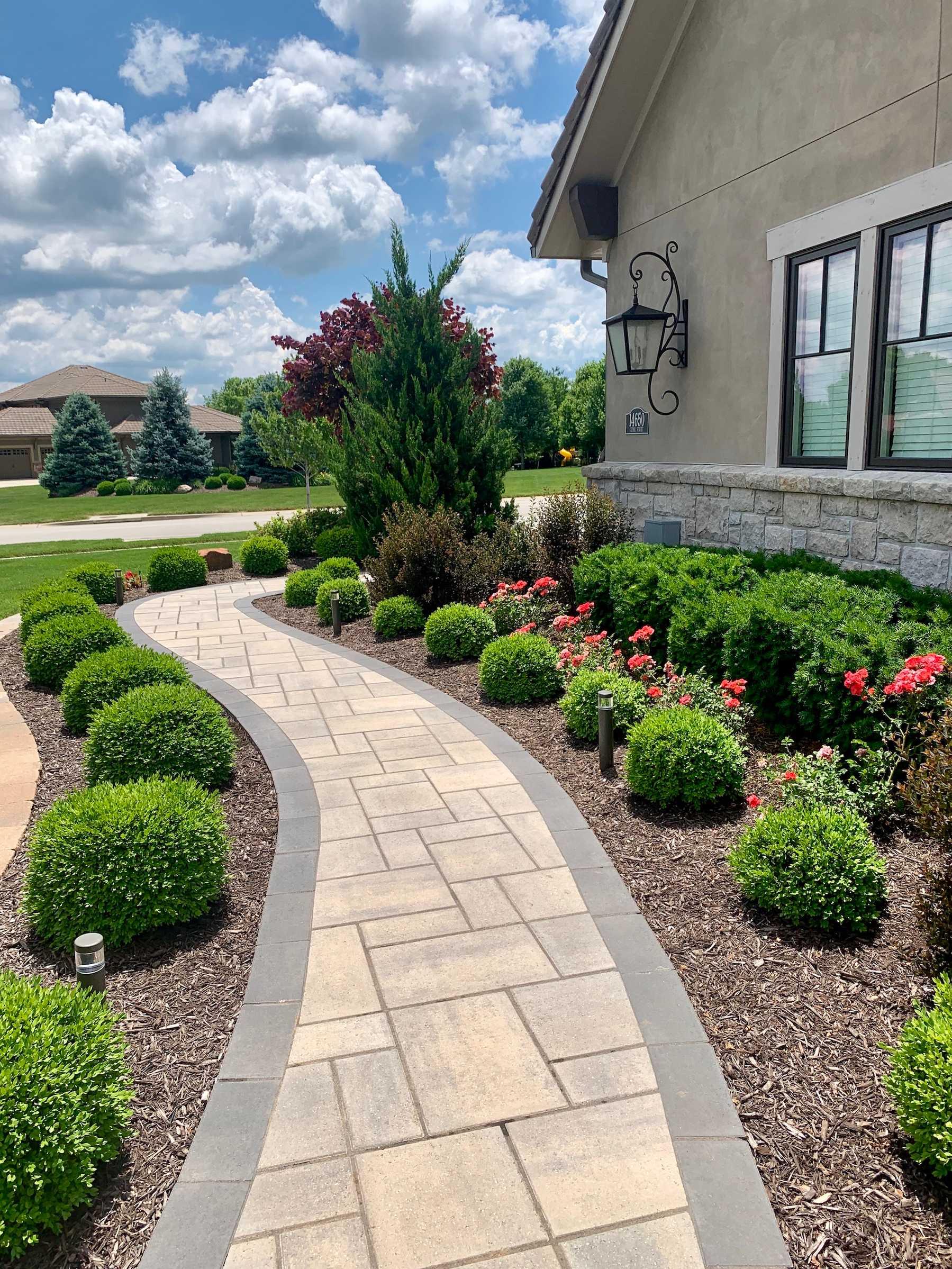 walkway pathway plantings hardscaping