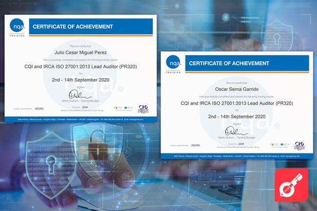 Obtención de la Certificación Lead Auditor ISO 27001 por CQI e IRCA