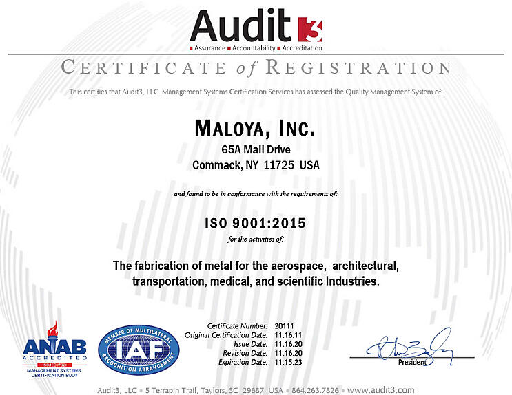 How does ISO Certification benefit Maloya clients?
