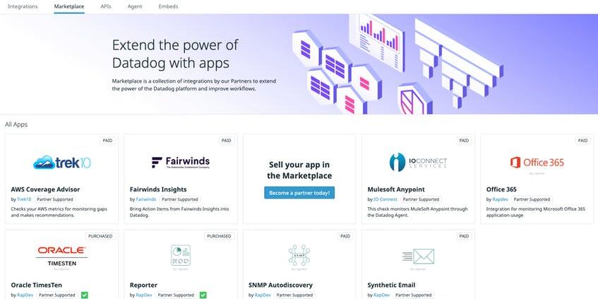 Datadog marketplace screenshot