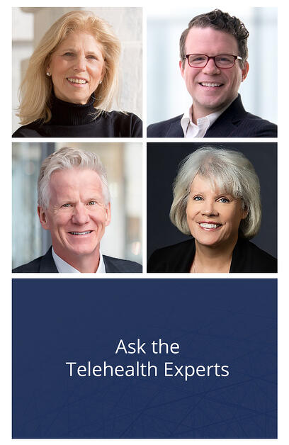 This image shows the headshots of each panelist on the Ask the Telehealth Experts on-demand webinar panelt