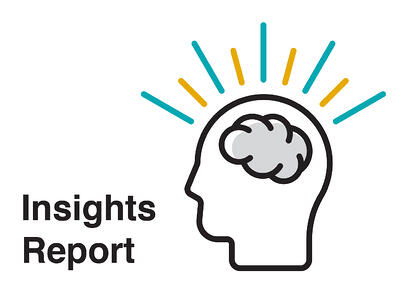 Graphic showing Insights Report with a lit brain