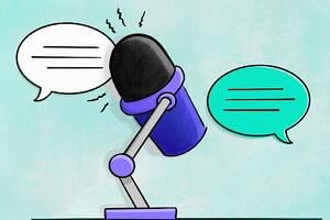 A graphic of a podcast microphone and speech bubbles