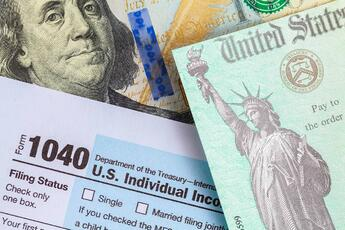 A Graphic Featuring Tax Forms And U.S. Dollar Bills