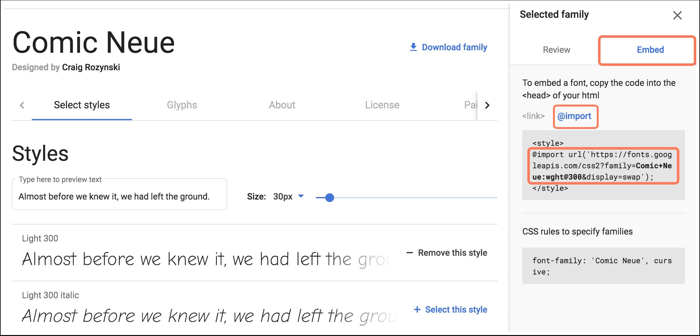 import-google-fonts-to-stylesheet