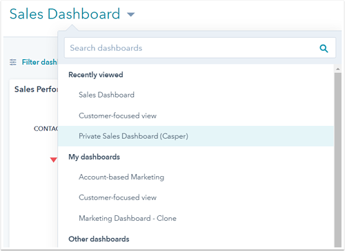 Sales Dashboard dropdown with Private Sales Dashboard (Casper) highlighted