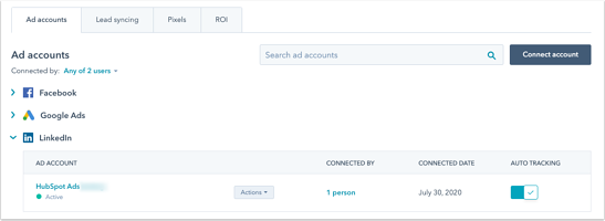 Connected LinkedIn account in Hubspot