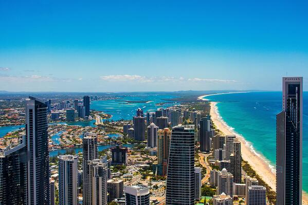 Aerial shot of Gold Coast in Queensland