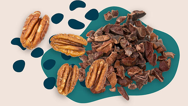 Collage of cacao and pecans