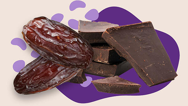 Collage of dates and chocolate