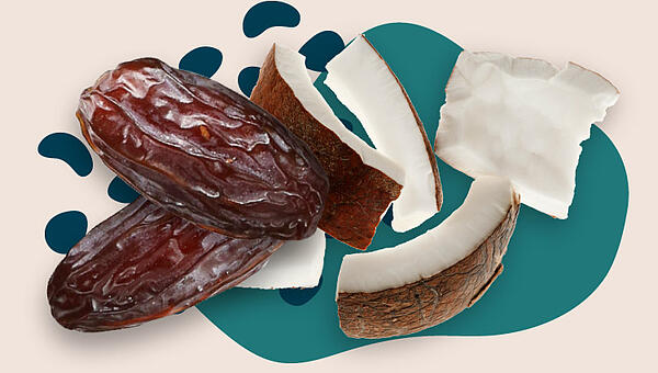 Collage of dates and coconut