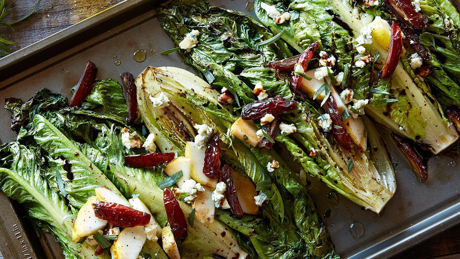 balsamic glazed grilled romaine hearts with medjool dates