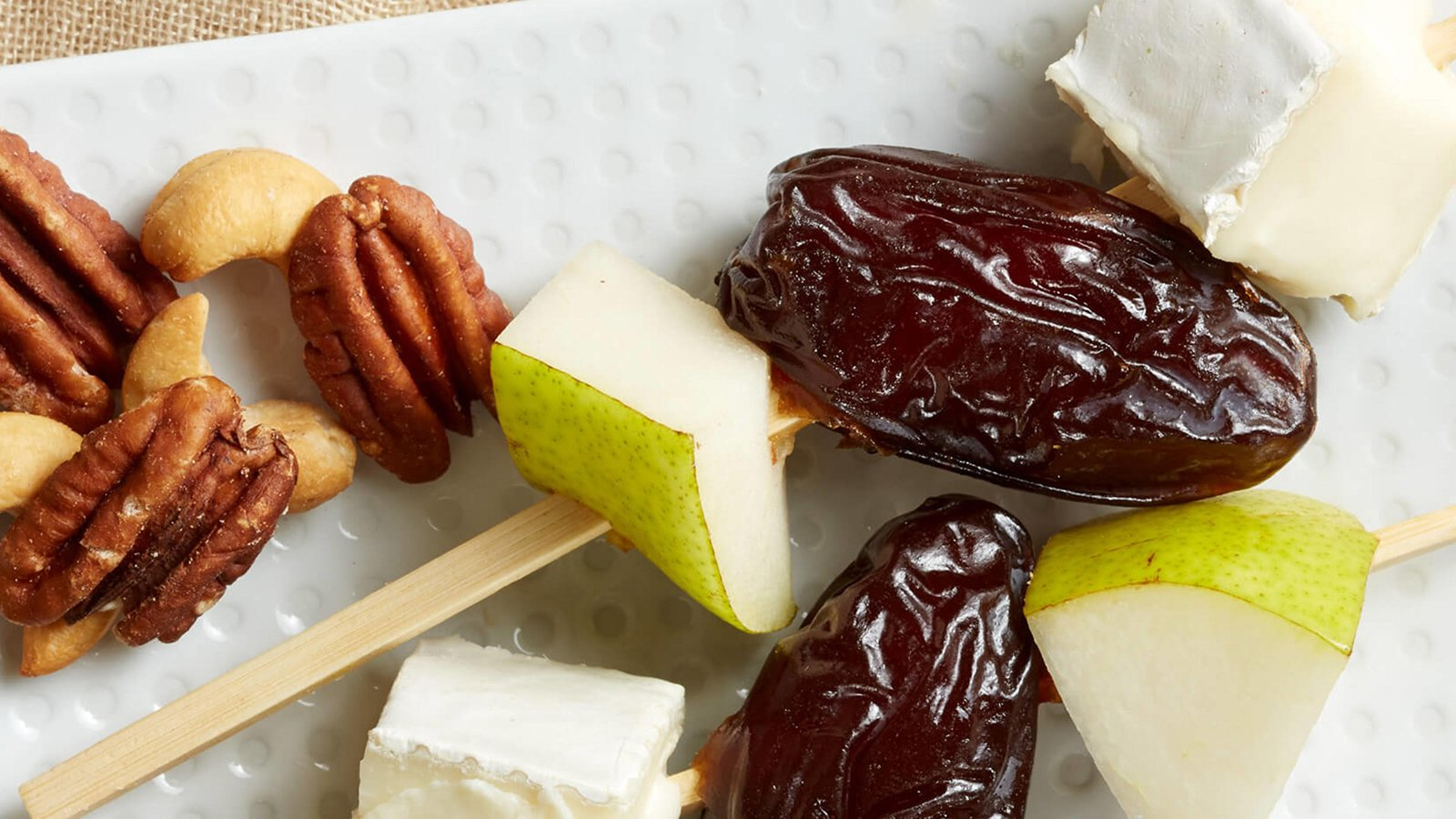medjool date pear brie skewers