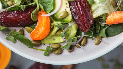 medjool date and microgreens switchback salad