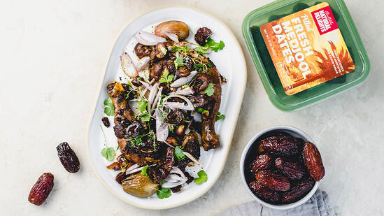 moroccan spiced chicken with shallots and medjool dates
