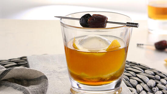 old fashioned cocktail with medjool date syrup