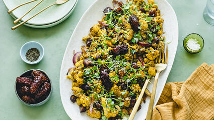 Roasted Cauliflower with Red Onions, Dates, and Middle Eastern Spices