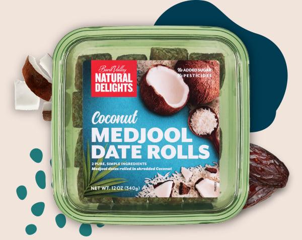Natural Delights Coconut Medjool Date Rolls