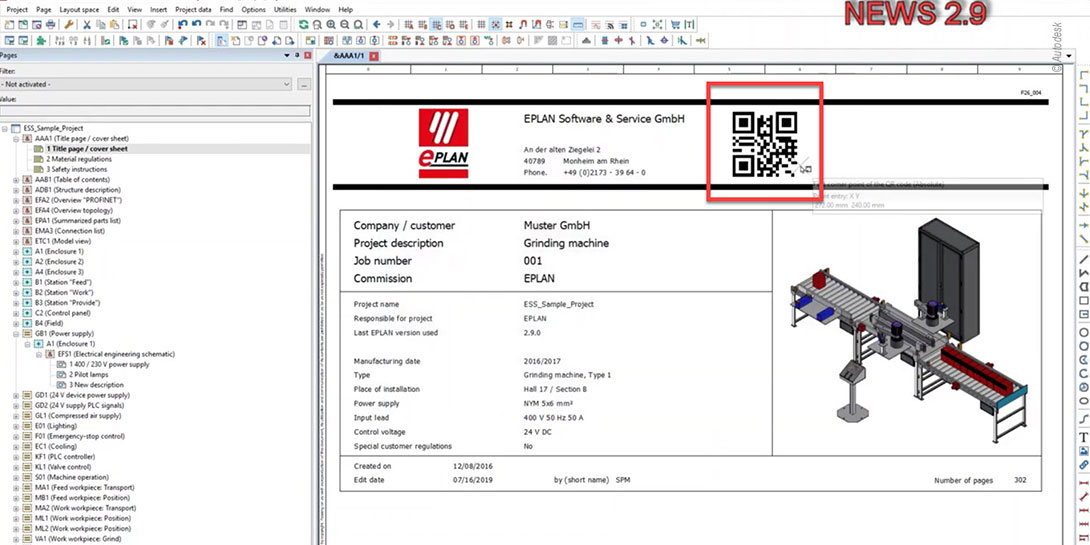 Screenshot QR-Code in der Eplan Version 2.9.
