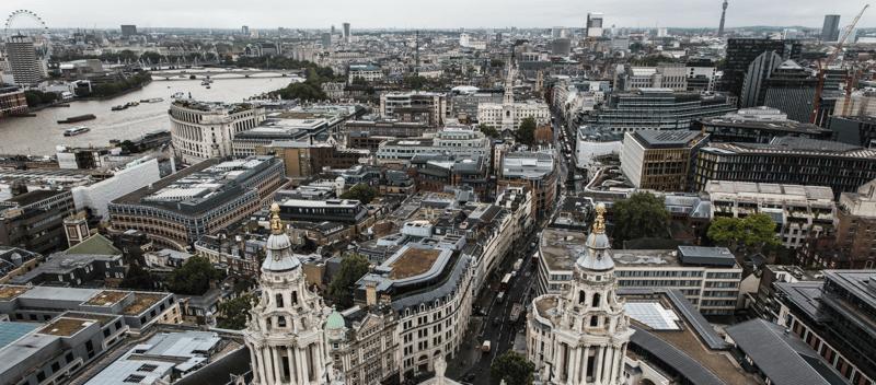 birds eye view of London
