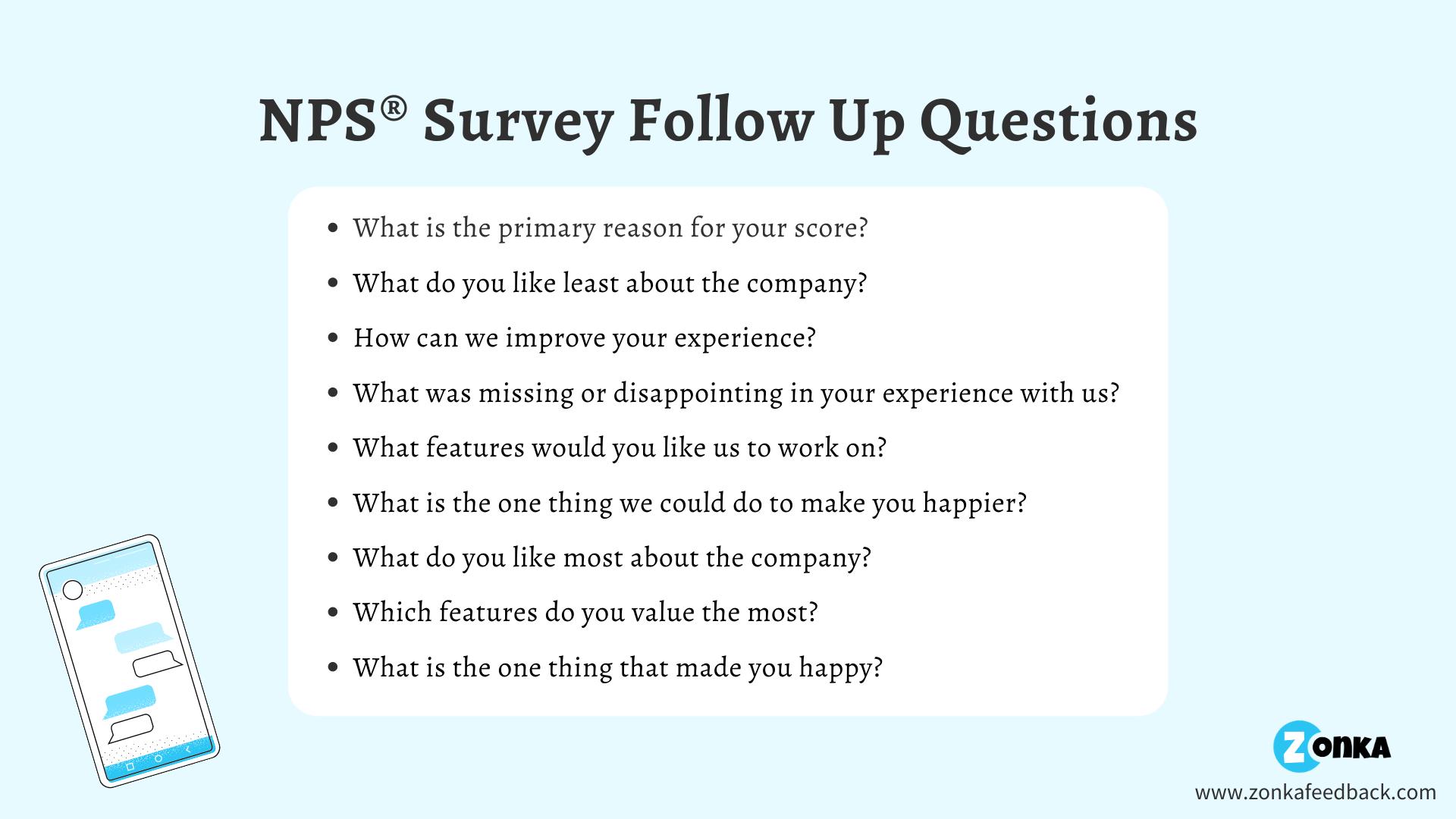 NPS Survey Follow Up Questions