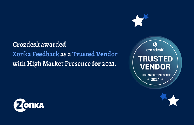 Zonka Feedback is Recognized as Trusted Vendor 2021 By Crozdesk