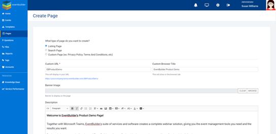 Screenshot: Create Page dialog.