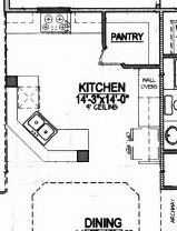 Most popular kitchen plans costco style walk in pantries for Kitchen floor plans with island and walk in pantry