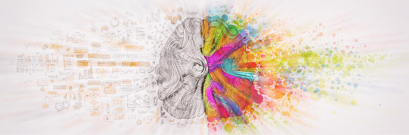 A brain with creative flare on the right and analytics on the left