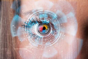 woman with cyber technology eye