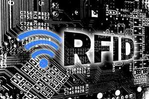 Computer circuit board with RFID label