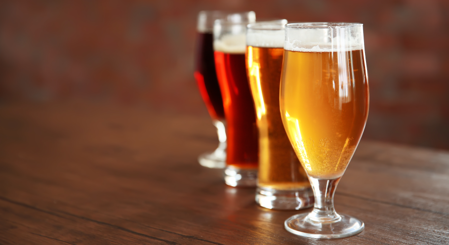 Beer Glasses with Different Beer Styles