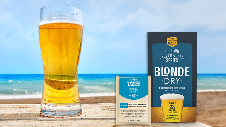 Mangrove Jack's Australian Blonde Dry and Kveik Yeast with Beer Glass by the Ocean