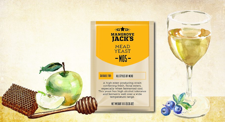 Mangrove Jack's M05 Mead Yeast over illustrated apples, blueberries and honey