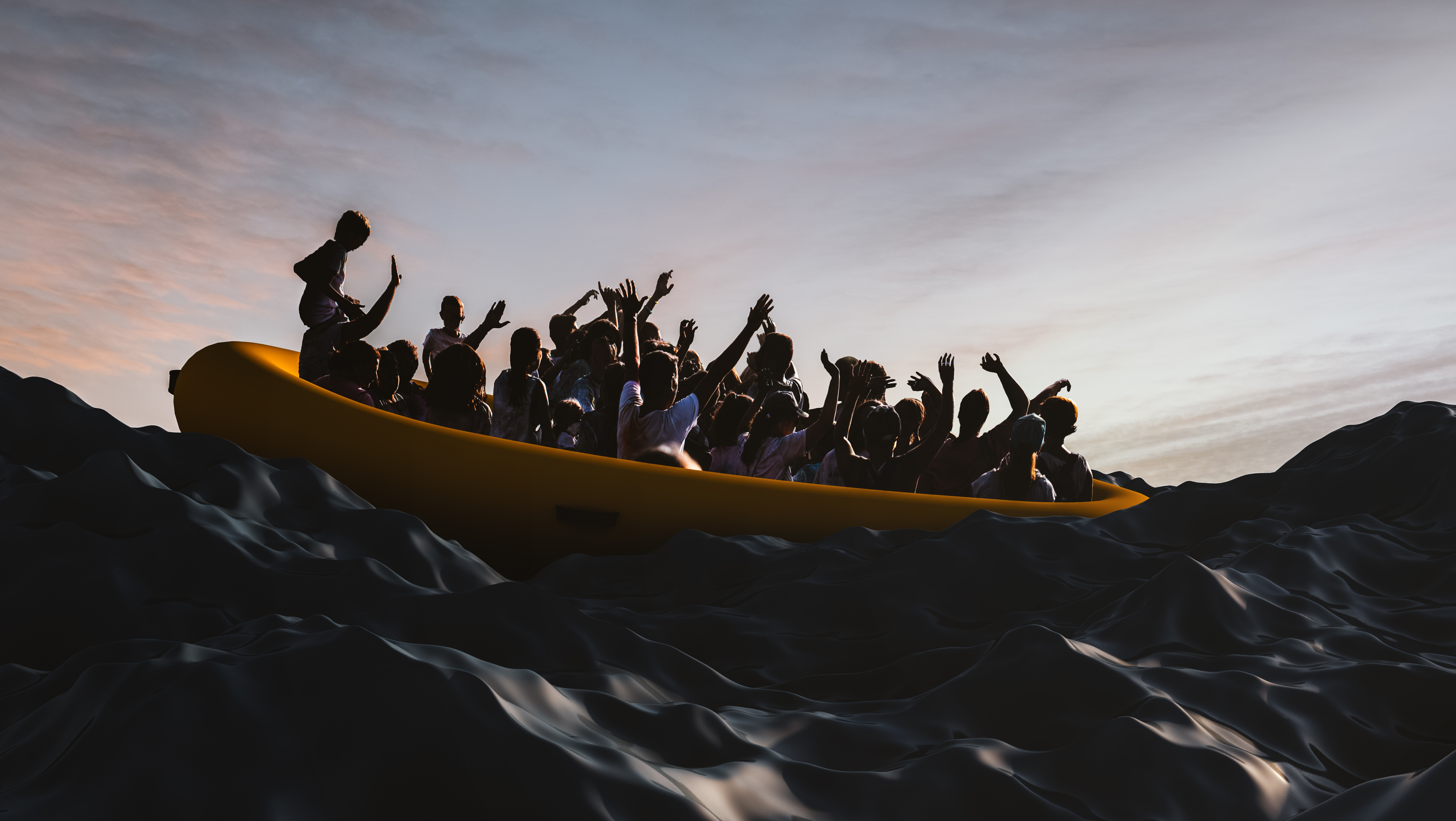 Illegal Migrant overcrowded boat