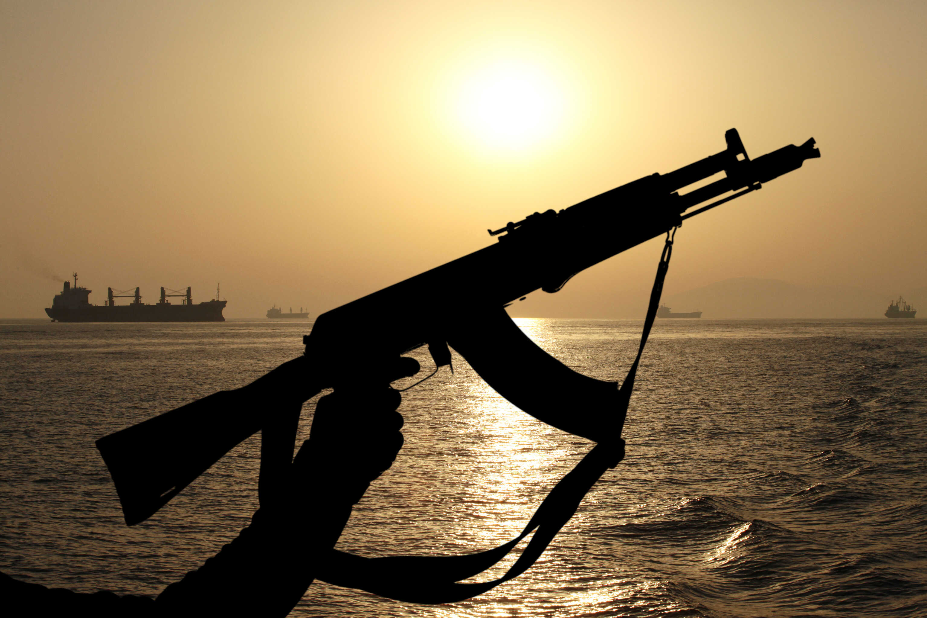 Pirate AK47 with ship in background