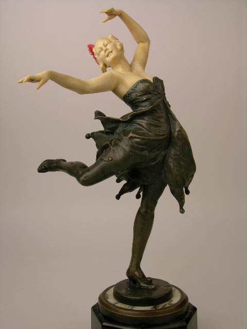 Dancer in bronze and ivory by Bruno Zach